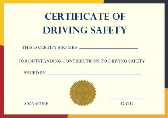 Driving Safety Coursess   Certificate Templates, Printable intended for Safe Driving Certificate Template