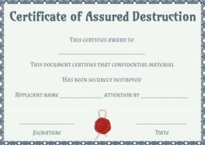Dvla Certificate Of Destruction Template | Certificate Of Pertaining To New Free Certificate Of Destruction Template