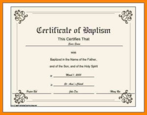 √ 20 Baptism Certificate Template Download within Unique Baptism Certificate Template Word 9 Fresh Ideas