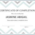 √ Free Printable Certificate Of Completion Template Throughout Fresh Certificate Of Completion Template Free Printable