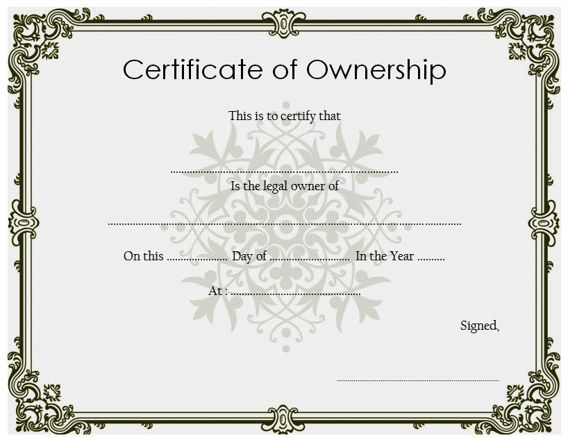 ❤️5+ Free Sample Of Certificate Of Ownership Form Template❤️ throughout Download Ownership Certificate Templates Editable