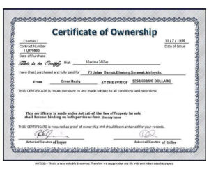 ❤️5+ Free Sample Of Certificate Of Ownership Form Template❤️ with Certificate Of Ownership Template