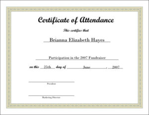 ❤️Free Printable Certificate Of Attendance Sample Template throughout Attendance Certificate Template Word