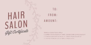 Easy To Edit Hair Salon Gift Certificates. pertaining to Free Printable Hair Salon Gift Certificate Template