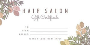 Easy To Edit Hair Salon Gift Certificates. with regard to Hair Salon Gift Certificate Templates