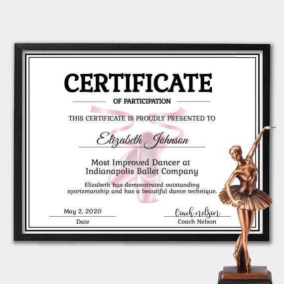 Editable Ballett Zertifikat Vorlage - Instant Download Dance Zertifikat  Vorlage - Zertifikat Der Teilnahme - Personalisierte Zertifikat with Dance Certificate Template