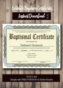 Editable Baptism Certificate Template – Pdf Adobe Reader Editable File –  Printable Certificate Template – Instant Download in Quality Baptism Certificate Template Download