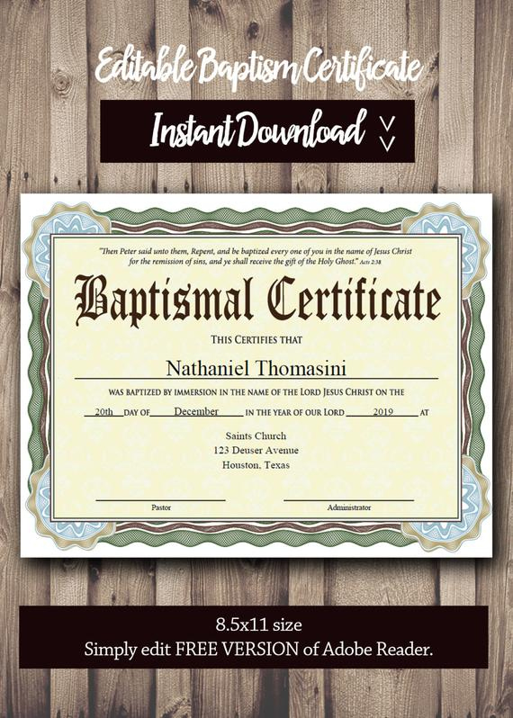 Editable Baptism Certificate Template - Pdf Adobe Reader Editable File -  Printable Certificate Template - Instant Download in Quality Baptism Certificate Template Download