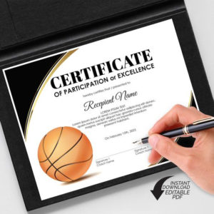 Editable Basketball Award Certificate Template, Printable Sports  Certificates Diploma, Basketball Participation Excellence, Instant Download with New Download 7 Basketball Participation Certificate Editable Templates
