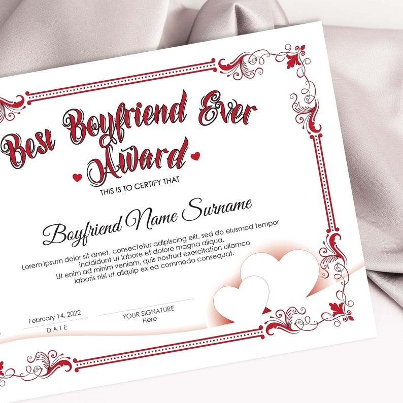 Editable Best Boyfriend Ever Award Template Valentines Day intended for Best Boyfriend Certificate Template