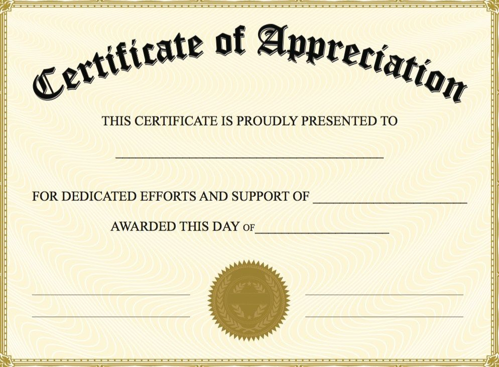 Editable Certificate Of Appreciation Template | Editable with Best Certificate Of Appreciation Template Free Printable