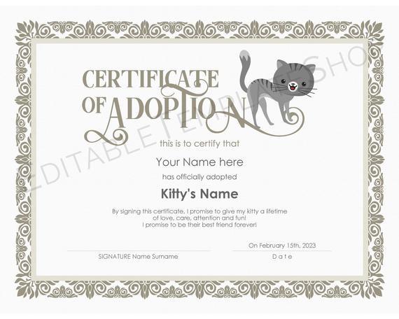 Editable Certificate Of Cat Adoption Template, Printable Pet Adoption  Certificate Template, Kitty Cat Adoption Certificate, Instant Download intended for Cat Adoption Certificate Template