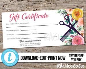 Editable Custom Hair Salon Gift Certificate Template , Printable Hair  Stylist Gift Voucher, Gift Card, Instant Download Templett, Flower for Hair Salon Gift Certificate Templates