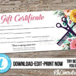 Editable Custom Hair Salon Gift Certificate Template Regarding Quality Free Printable Beauty Salon Gift Certificate Templates