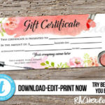 Editable Custom Makeup Gift Certificate, Printable Template With Regard To New Mary Kay Gift Certificate Template
