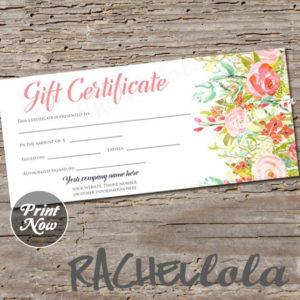 Editable Custom Printable Gift Certificate Template Floral pertaining to Fresh Small Certificate Template