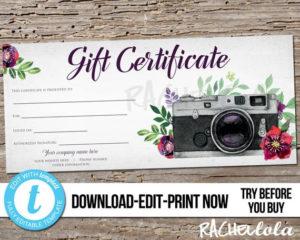 Editable Custom Printable Photography Gift Certificate in Free Photography Gift Certificate Template