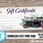 Editable Custom Printable Photography Gift Certificate In Quality Printable Photography Gift Certificate Template