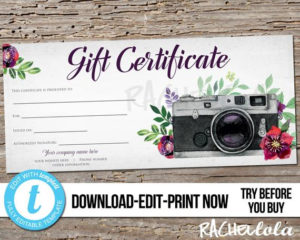 Editable Custom Printable Photography Gift Certificate in Quality Printable Photography Gift Certificate Template