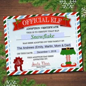 Editable Elf Adoption Certificate, Elf Letters Notes From The Elf, Elf  Report Card, Elf Activity Santa North Pole Printable Instant Download with Elf Adoption Certificate Free Printable