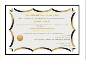 Editable Fitness Certificate Template For Ms Word | Document Hub with Physical Fitness Certificate Template Editable