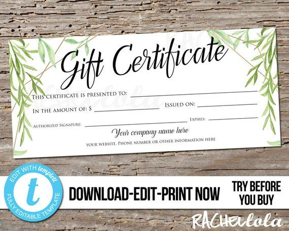 Editable Greenery Printable Gift Certificate Template with regard to Fresh Photography Session Gift Certificate