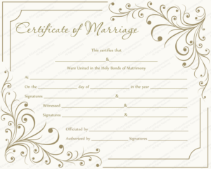 Editable Marriage Certificate Templates (Make Your Own with Best Blank Marriage Certificate Template