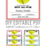 Editable Pdf Sports Team Softball Certificate Award Template In 10 Colors  Letter Size Instant Download For Best Softball Certificate Templates