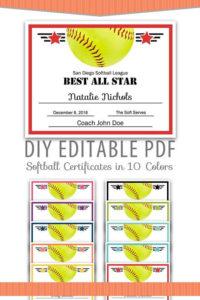 Editable Pdf Sports Team Softball Certificate Award Template throughout Free Softball Certificates Printable 10 Designs