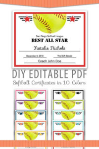 Editable Pdf Sports Team Softball Certificate Award Template with Best 10 Free Printable Softball Certificate Templates
