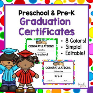 Editable Preschool & Pre-K Graduation Certificates! in Unique Editable Pre K Graduation Certificates
