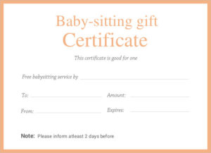 Editable-Printable-Doc-Babysitting-Gift-Certificate-Template regarding New Babysitting Gift Certificate Template