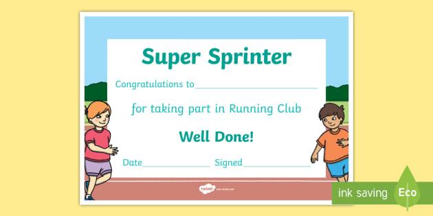 Editable Running Club Certificate (Teacher Made) intended for Editable Running Certificate
