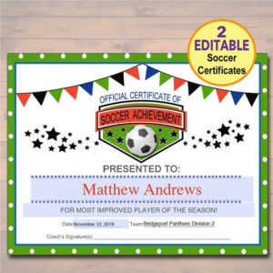 Editable Soccer Award Certificates Instant Download Team within New 10 Sportsmanship Certificate Templates Free