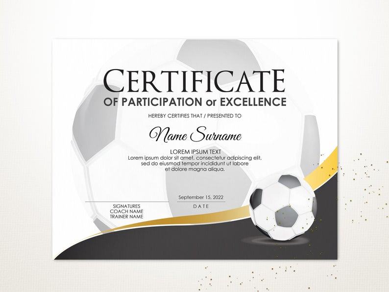 Editable Soccer Football Certificate Template, Sport for Quality Soccer Certificate Template Free 21 Ideas
