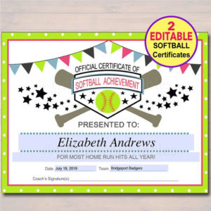 Editable Softball Certificates Instant Download Softball Pertaining To Free Softball Certificates Printable 10 Designs