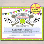 Editable Softball Certificates Instant Download Softball Regarding Best Softball Certificate Templates