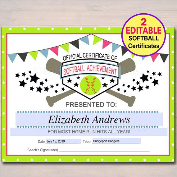 Editable Softball Certificates Instant Download Softball with regard to Best 10 Free Printable Softball Certificate Templates