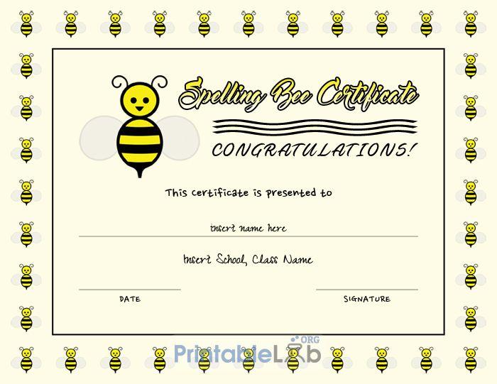 Editable Spelling Bee Certificate Template In Cream, Yellow regarding Fresh Spelling Bee Award Certificate Template