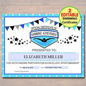 Editable Swim Team Award Certificates Instant Download with Editable Swimming Certificate Template Free Ideas