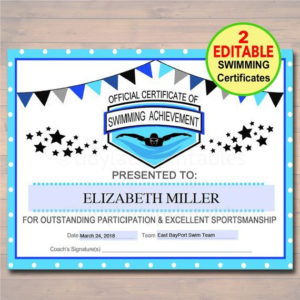 Editable Swim Team Award Certificates Instant Download within Free Swimming Certificate Templates