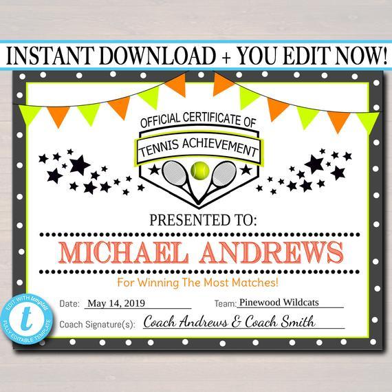 Editable Tennis Award Certificates, Instant Download, Team intended for Editable Tennis Certificates
