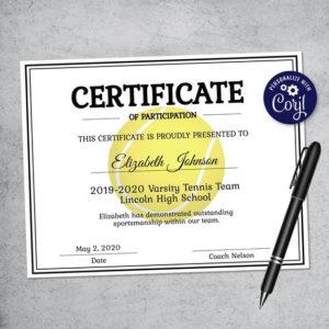 Editable Tennis Certificate Template – Printable Certificate Template –  Tennis Certificate Template Personalized Diploma Certificate inside Quality Tennis Certificate Template
