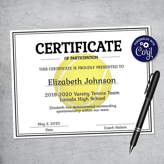 Editable Tennis Certificate Template - Printable Certificate Template -  Tennis Certificate Template Personalized Diploma Certificate pertaining to Best Editable Tennis Certificates