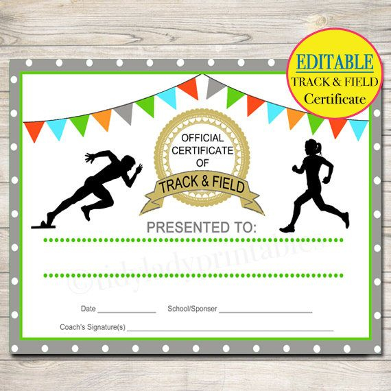 Editable Track & Field Award Certificates, Instant Download with regard to Track And Field Certificate Templates Free