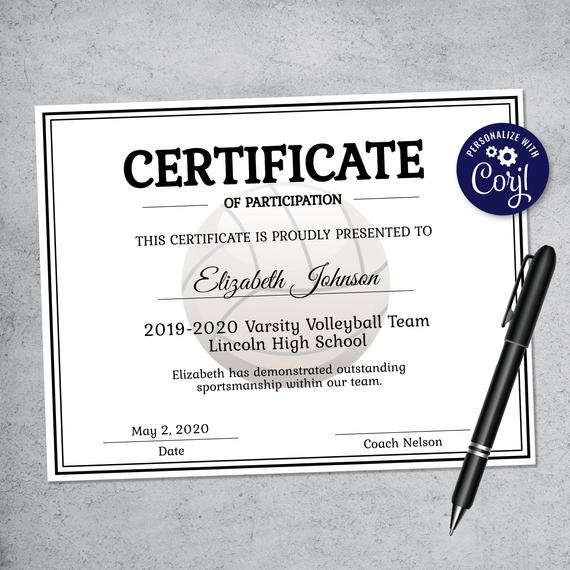 Editable Volleyball Certificate Template - Printable Certificate Template -  Volleyball Certificate Template Personalized Diploma Certificate with regard to Fresh Volleyball Certificate Template Free