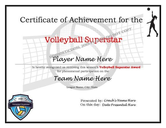 Editable Volleyball Certificates-Digital Downloadable Printable & Create  Your Own Award Template throughout Fresh Volleyball Certificate Template Free
