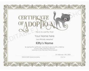 Editable Zertifikat Der Katze Adoption Vorlage, Druckbare Haustier Adoption  Zertifikat Vorlage, Kitty Cat Adoption Zertifikat, Instant Download inside Cat Adoption Certificate Templates