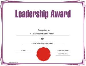 Education Certificate – Leadership Award Template intended for Leadership Award Certificate Templates