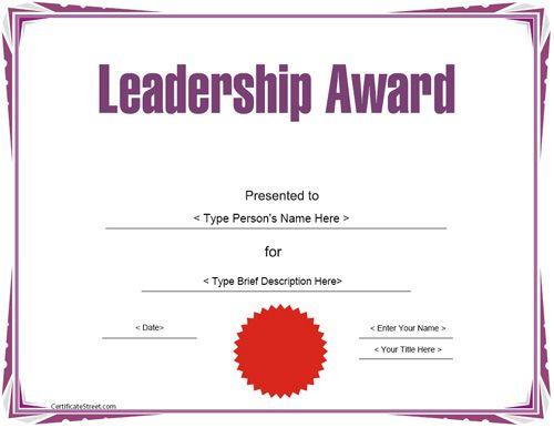 Education Certificate - Leadership Award Template throughout Leadership Award Certificate Template